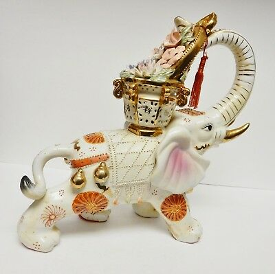 "VTG Chinese Asian Porcelain Elephant Statue Figurine Ceremonial Floral 13""x10"""