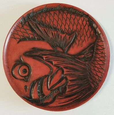Antique Unique Japanese Red Wood Lacquered Sea Bream Tai Fish Plate