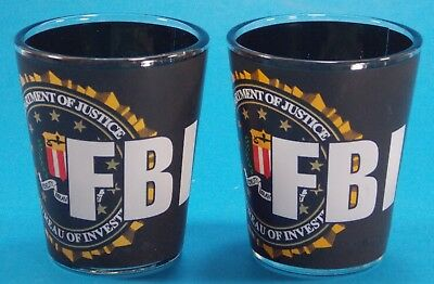 "Lot Of Two Fbi Department Of Justice Shot Glass 2-1/4"" Tall"