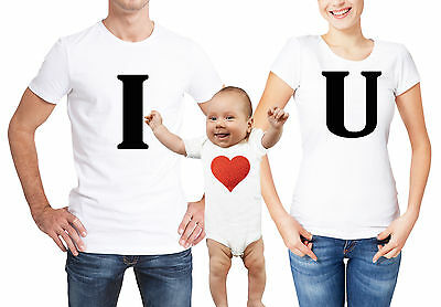 Valentine's day family matching white T-shirts and baby grow set.