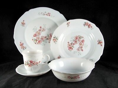 Arcopal Florentine Dinnerware, 20pc, Service for 4, France, pink, milk glass