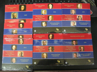7 US Mint $1 Presidential Dollar Coin Uncirculated Sets P&D 2009 2011-16 SEALED