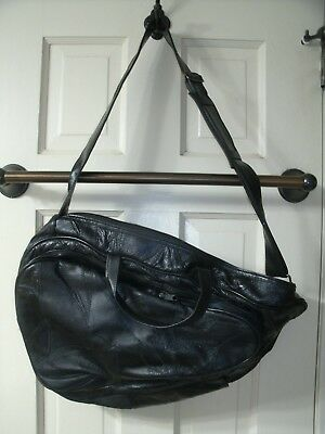 COMFORT CARRY ALL Black Leather Look Single Strap Backpack Shoulder Bag Purse