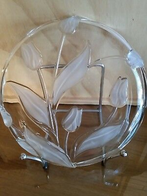 "Frosted ""Tulip"" Round Glass Serving Platter"