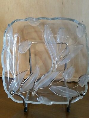 "Frosted ""Tulip"" Divided Square Glass Plater."