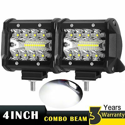 4inch CREE TRI-ROW Led Work Light Bar SPOT Flood Combo Pods Offroad Driving Lamp
