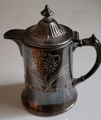 Antique Pairpoint Mfg.Co. Quadruple Plate 1747 Ornate Etched Creamer