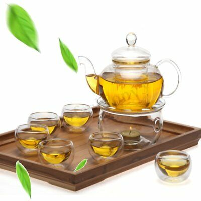 8 Pcs/Set Clear Glass Tea Double Wall Teapot & Cup Filtering Drink Home Decor 1