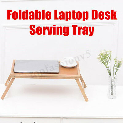 20'' Portable Bamboo Laptop Desk Bed Serving Tray Foldable Notebook Table