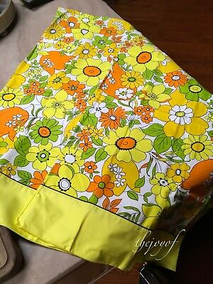 Vtg Pair Wabasso Floral Retro Mod Pillowcases 100% Cotton - Never Used