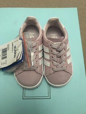 Adidas Girl Baby Toddler Pink Campus Trainers Size 5 Infant New With Tags