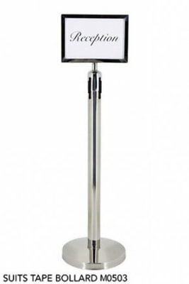 Stainless Steel A4 Sign Holder Only Mounts onto Bollard Stand