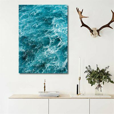 16x20'' Blue Sea Art Oil Poster Canvas Printed Painting Décor Framed /