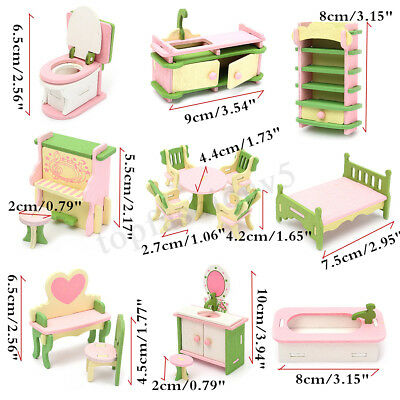 Wooden Dolls House Furniture Kitchen Guest Room Bathroom Bedroom Children