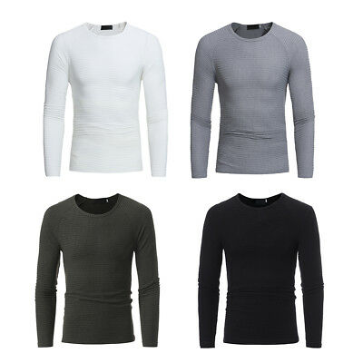Men's Fashion Round Neck Knit Sweater Pullover Casual Jumper Knitwear Coat Tops