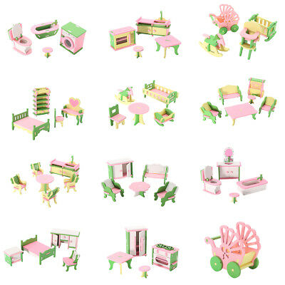 49Pcs 11 Sets Baby Wooden Furniture Dolls House Miniature Child Play Toys