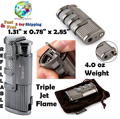 Jet Flame Refillable Butane Lighter Torch Lighters Windproof Cigar Punch Cutter