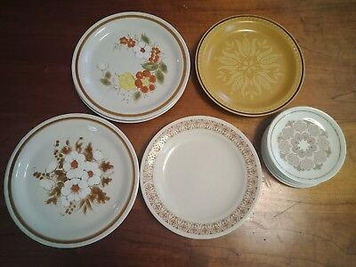 Vintage Retro Stoneware Dinner Plates and Side Plates, Various Designs.