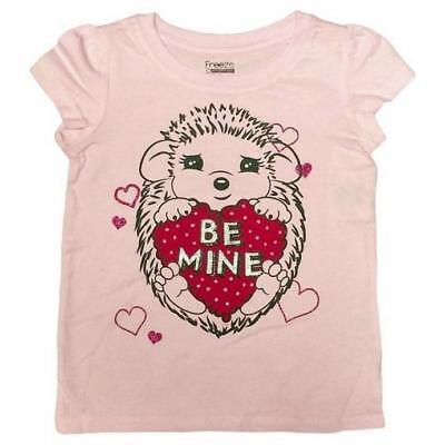 Girls BE MINE Pink Valentine Short Sleeved Shirt Hedgehog New
