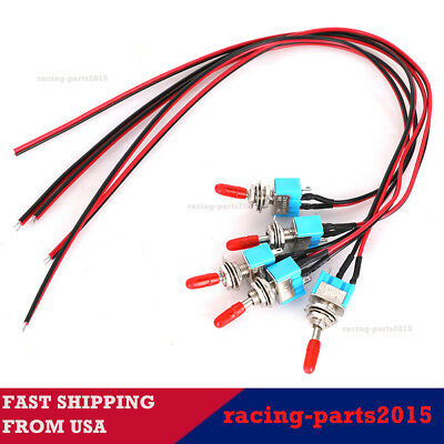 5x SPST Toggle Switch Wires On/Off Metal for Mini Automotive Boat Car Truck