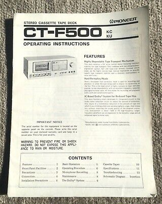Operating Instructions Manual Pioneer CT-F500 KC KU Stereo Cassette Tape Deck