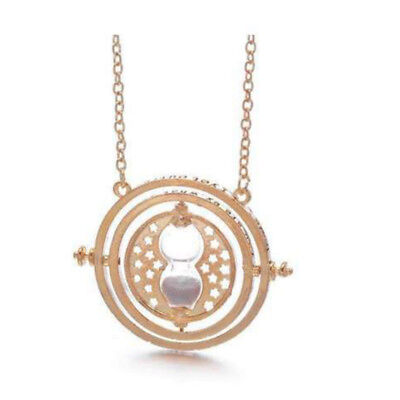 NEW Harry Potter Gold Time Turner Hermione Granger Rotating Hourglass Necklace