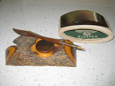 Antique Australian Ink Well and Pen and Blotter
