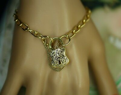 Art Deco Vintage Jewelry Gold Bracelet Padlock Antique Victorian Jewellery