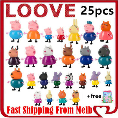 Peppa Pig Playset Family Gift Kid Toy Children Character Doll Figure Plastic PVC