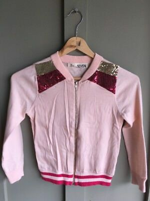 COTTON ON Kids Jacket Size 7 Girls Pink Sequence Sweater