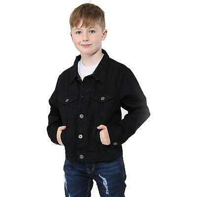 Kids Boys Jackets Designer Jet Black Denim Jeans Fashion Jacket Coat Age 3-13 Yr