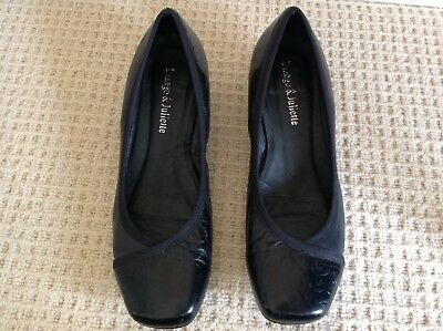 Django & Juliette ladies black leather low heel court shoes size 38