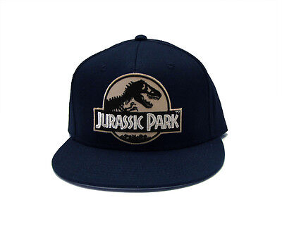 Jurassic Park Movie Logo Desert Sci-Fi Patch Flat Bill Snapback Navy Cap Hat e68eb2813f82