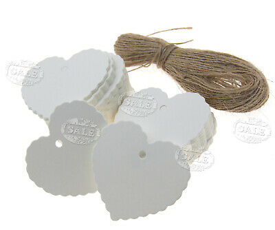 100x Heart Shape Hang Tags Wedding Label Blank Luggage String White