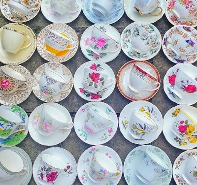 Job Lot Of 12 Vintage Mismatched Tea Cups And Saucers Duos China Mix Set Party