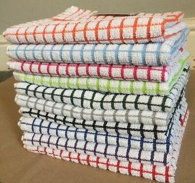 Tea Towels Cotton Rich Terry Kitchen Drying Cleaning Dish Cloths Lots of Colours