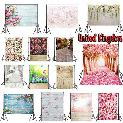 Pink Flower Wall Photo Background Vinyl Birthday Party Backdrops Stand Studio UK