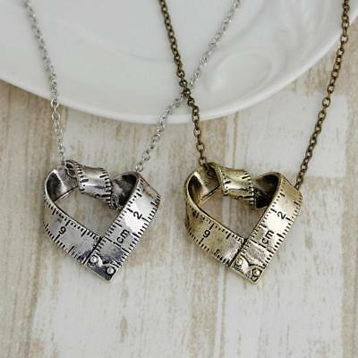 Mini Silver Tone Tape Measure Love Heart Sewing Taylor Sewer Sewing Pendants T