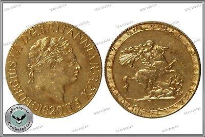 RESTRIKE 1820 King George III Gold Plated Full Sovereign Coin collectable NEW