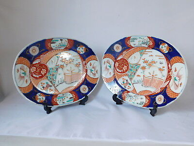 19Th - Early 20Th Century Pair Of Oval Japanese Imari Plates ~ Free Uk Postage