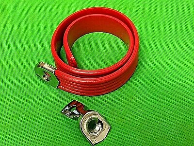 Vespa / Lambretta Red Solid Seat Strap C/W 2 Stainless End Clamps