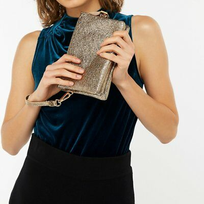 Accessorize Monsoon Sheraton Gold Cross Body Clutch Bag Prom Party Evening New
