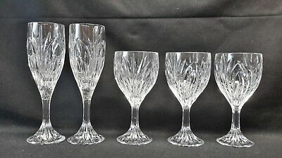 Crystal Clear Industries Elise Set of 3 Wine & 2 Fluted Champagne Glasses