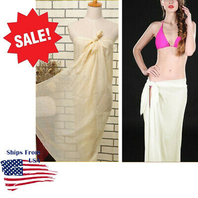 4e9dbe75032c7 Ivory Extra Long Sheer Pareo Dress Sarong Beach Bikini Swim Cover Up Scarf  Wrap