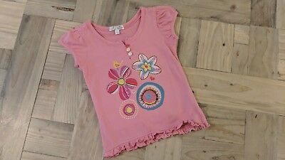 Marks and Spencer Girls Short Sleeve Top Pink with Embroidery Flowers 18 -24 Mth