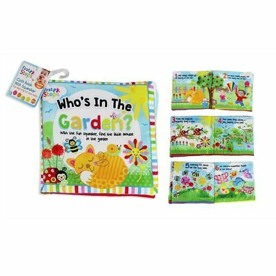 Brand New Baby First Steps Whose In The Garden Cloth Book With Squeaker Birth -