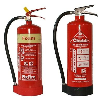 Fire Extinguisher, 6 Litre Foam or Hydrospray Available. Home,Garage,Workshed.