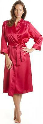 75b33cd29a Camille Womens Nightwear Luxury Dark Pink Satin Bathrobe Dressing Gown Wrap