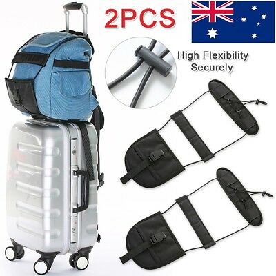 2X Adjustable Travel Luggage Suitcase Belt Add A Bag Strap Carry On Bungee Black