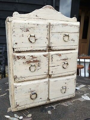 Vintage Antique Painted Spice Drawers Cabinet